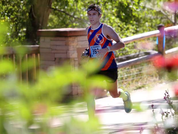 William Holleran compets in the Aspen Backcountry Half Marathon on Saturday, Aug. 11, 2018, at Rio Grande Park. (Photo by Austin Colbert/The Aspen Times).