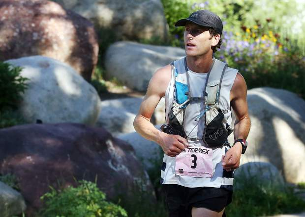Gunnison's Joshua Eberly competes in the Aspen Backcountry Marathon on Saturday, Aug. 11, 2018, at Rio Grande Park. He won the race in 3:24:33.88. (Photo by Austin Colbert/The Aspen Times).