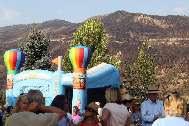The damage caused by the Lake Christine Fire was clearly visible during the National Night Out event on Tuesday, Aug. 7 at Triangle Park in Willits.