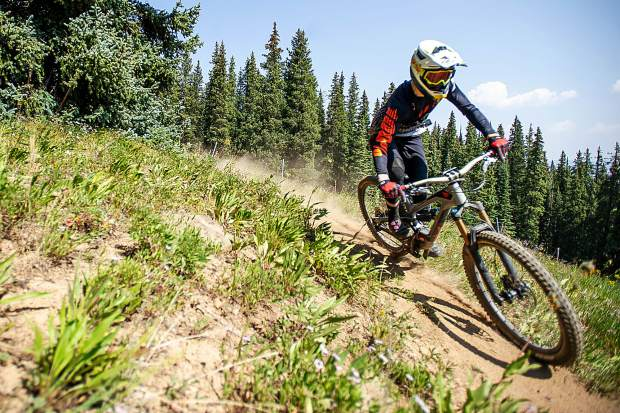 Aspen local, Tate Dubilier takes a practice run on Aspen Mountain for the Big Mountain Enduro Race this weekend on Thursday.