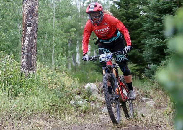 Cooper Ott competes in the Big Mountain Enduro Finals on Sunday, Aug. 5, 2018, in Snowmass. (Photo by Austin Colbert).