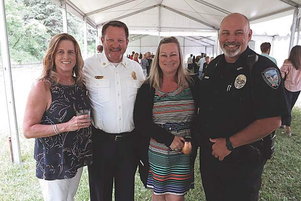 Jennifer Thompson and Scott Thompson, Fire Chief for Basalt and Snowmass Village, with Heather Knott and Greg Knott, Basalt Chief of Police.