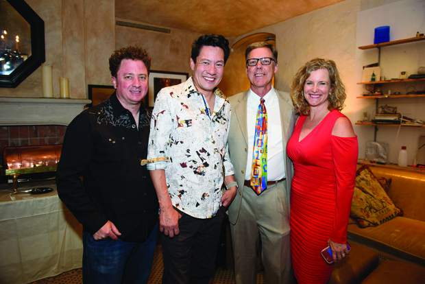 Jeremy Lawton and Todd Park Mohr with Big Head Todd & The Monsters meet and greet Challenge Aspen CEO Jeff Hauser and his wife, Carrie Hauser. MarySue Bonetti photo.