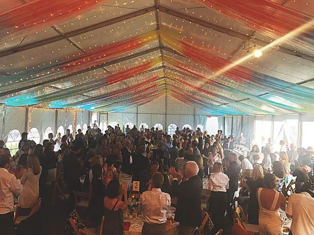 The pARTy at the Art Base on Aug. 23 brought all under the tent to their feet to applaud Basalt's first responders.