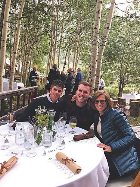 Ted Mahon, Nick Lincoln and Sarah Broughton at Toklat for a dinner amidst the aspens on Aug. 8.