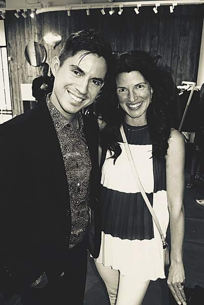 Erik Maza with Town & Country and Marcie Haley of Akris at a cocktail party at Akris' summer pop-up on East Hyman.