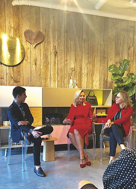 Erik Maza with Town & Country mediates an Evening on the Arts conversation with Melissa Beste, Akris Global CEO, and Jackie Soffer, Turnberry Chairman & CEO, on Aug. 17.