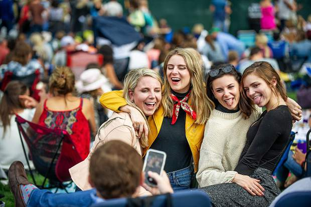 Girls pose for a photo during the Fitz and The Tantrums on Saturday for the JAS Labor Day Experience.