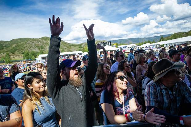 Crowd members get excited as the Canadian band The Bahamas come on stage for the JAS Labor Day Experience on Saturday.