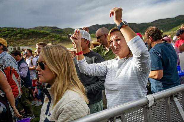 A crowd member dances during Fitz and The Tantrums performing for JAS Labor Day Experience on Saturday.