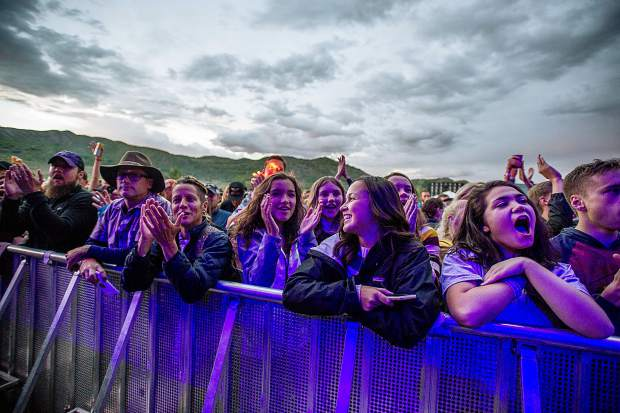 The crowd cheers during Jack Johnson's concert Saturday night at the JAS Labor Day Festival.
