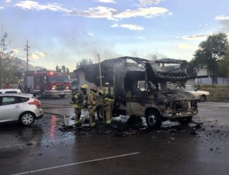 RV camper catches fire in Carbondale; plume of smoke seen for miles