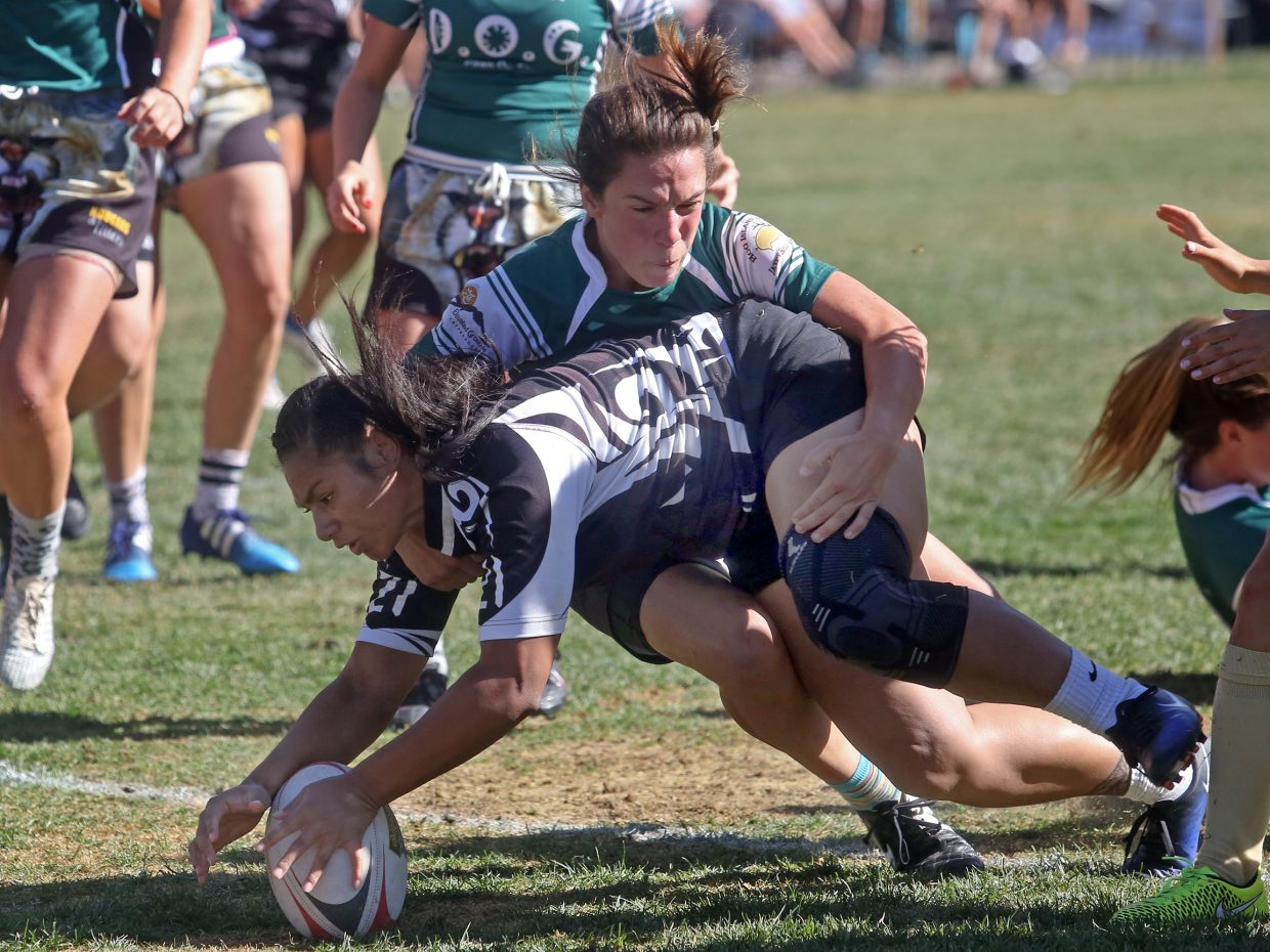 Aspen's Cori Lambert plays for the Kougars and Kittens women's rugby team against the Salt Lake City Sister Wives during the 51st annual Ruggerfest rugby tournament on Saturday, Sept. 15, 2018, at Wagner Park in Aspen. (Photo by Austin Colbert/The Aspen Times).