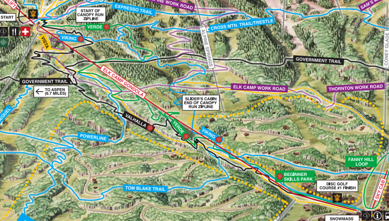 9a51d8bc038 Summer mountain biking trail map of Snowmass ski area. Aspen Skiing Co.
