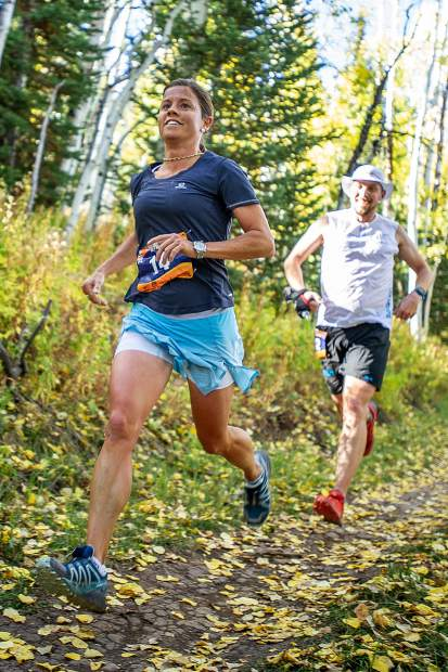 Stevie Kremer of Crested Butte took women''s first place in the Golden Leaf Half Marathon on Saturday. Kremer is seen here around milemarker 4 on the Government Trail in Snowmass.