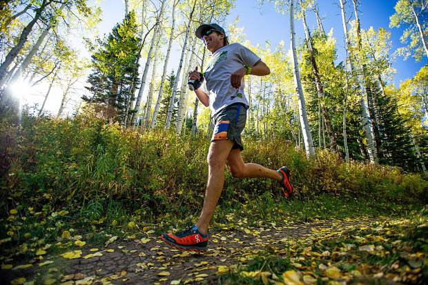 Denver resident Ben Kurtz in the Golden Leaf Half Marathon on Saturday around milemarker 4 on the Government Trail in Snowmass.