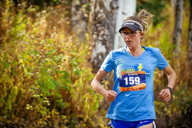 Boulder resident Hannah Billings in the Golden Leaf Half Marathon on Saturday around milemarker 4 on the Government Trail in Snowmass.