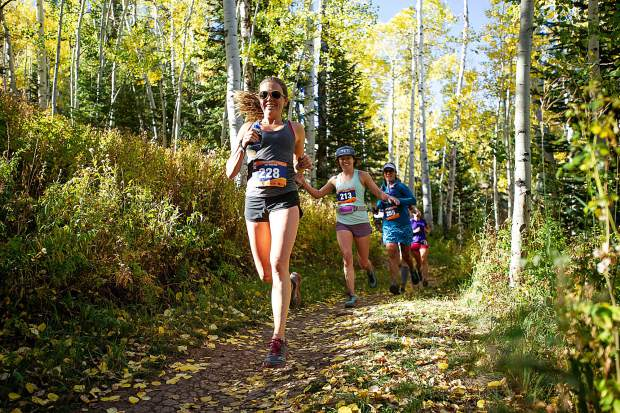 Boulder resident Jessie Michaud in the Golden Leaf Half Marathon on Saturday around milemarker 4 on the Government Trail in Snowmass.