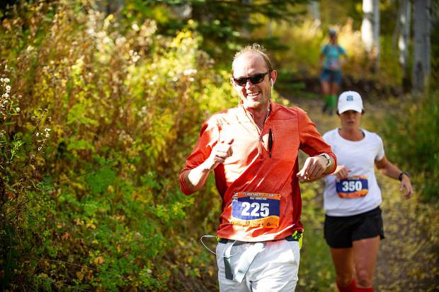 Denver resident Beau Hoffman in the Golden Leaf Half Marathon on Saturday around milemarker 4 on the Government Trail in Snowmass.
