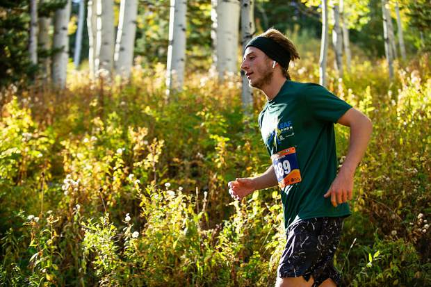 Boulder resident Will McLanahan in the Golden Leaf Half Marathon on Saturday around milemarker 4 on the Government Trail in Snowmass.