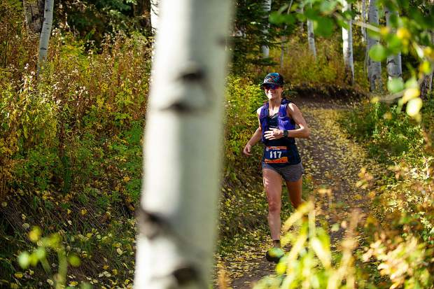 Vail resident Marina Egorov in the Golden Leaf Half Marathon on Saturday around milemarker 4 on the Government Trail in Snowmass.