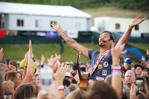 Michael Franti singing in the crowd Friday night for the Jazz Aspen Snowmass concerts.