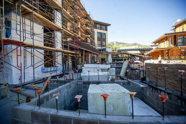 Construction on the Limelight Hotel in Snowmass on Aug. 30.