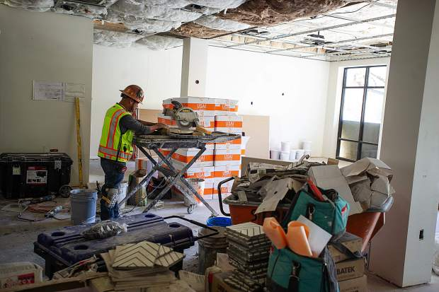 Construction in the kids game area of the new Limelight Hotel in Snowmass on Aug. 30.