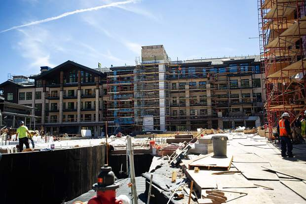 Construction on the new Limelight Hotel in Snowmass on Aug. 30.