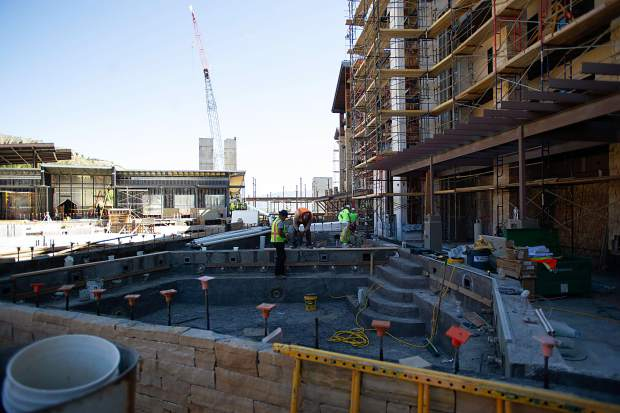 Construction on the new hot tub area for the Limelight Hotel in Snowmass on Aug. 30.
