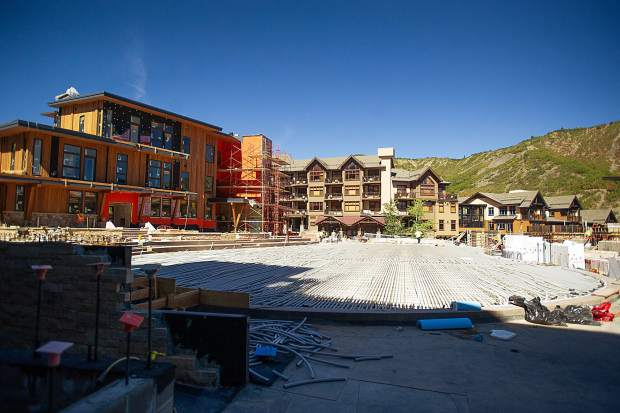 The ice rink and plaza area in Snowmass Base Village.