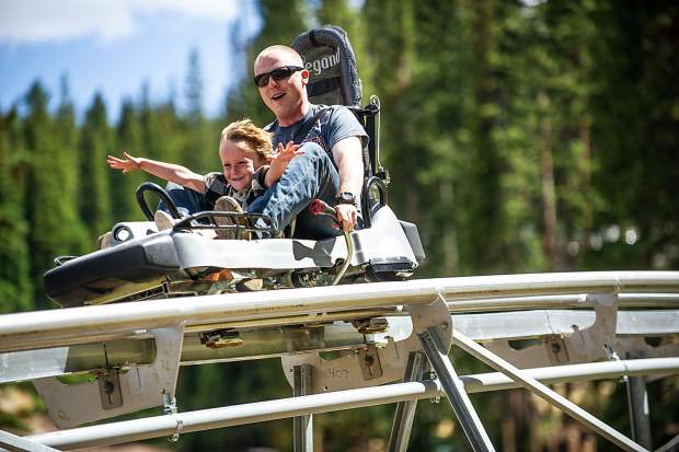 A pair enjoy the Breathtaker alpine coaster in Snowmass earlier this summer.