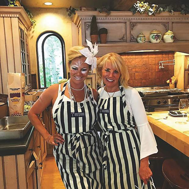 Linkie Marais and Mary Tanguay prepping for the White Party. Courtesy photo.
