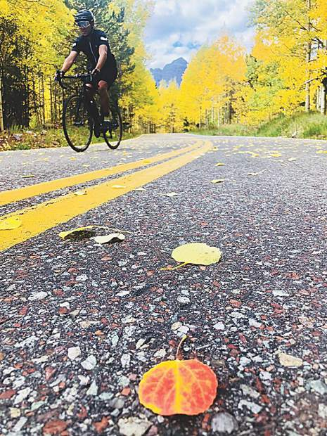 Charlie Lucarelli takes his new Trek bike from the Hub of Aspen on a fall spin to the Bells.