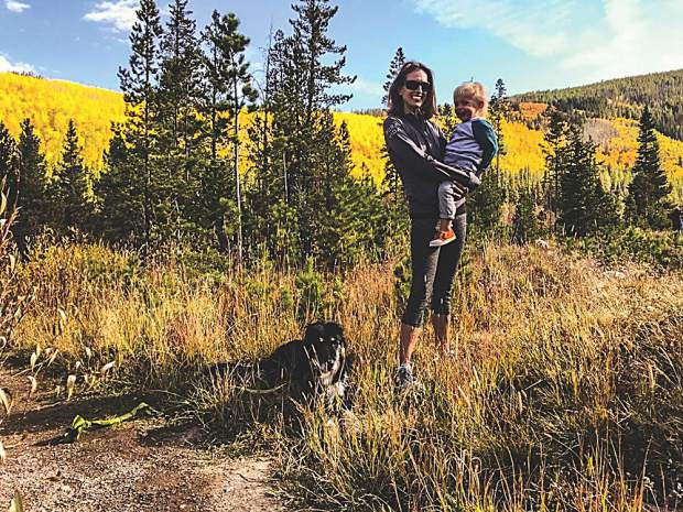 Ellen Spitzbart on a fall hike with her son, Max, and dog, Ryder. Courtesy photo.