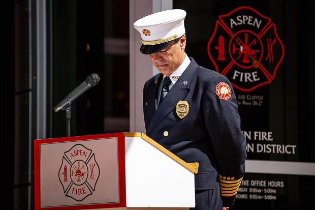 Aspen Fire Chief Rick Balentine gets emotional while speaking about the 2,996 deaths from 17 years ago of the 9/11 attacks on Tuesday afternoon.