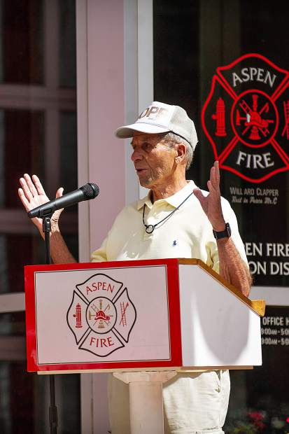 Dick Butera speaking Tuesday at the Aspen Fire Department about his experience on Sept. 11, 2001 after Aspen Fire Chief Rick Balentine requested he speak about providing meals to first responders in New York after the attack.