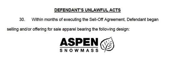 5d895cf7e A federal lawsuit filed by Aspen Skiing Co. accuses a combination of five T- shirts shops in Aspen and Snowmass Village of violating trademark laws.