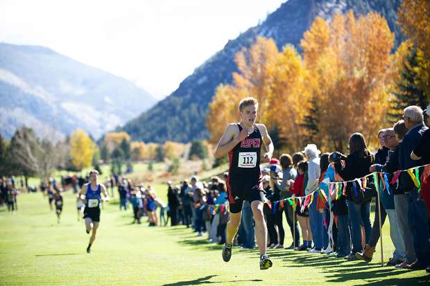 Aspen High senior Nicholas Galambos nearing the finish line at the state regional cross-country meet at the Aspen Golf Course on Friday morning. Galambos took 9th overall.