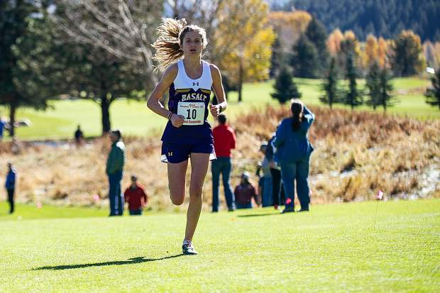 Basalt sophomore Sierra Bower running towards the finish line at the state regional cross country meet at the Aspen Golf Course on Friday morning. Bower took first overall with a time of 20:03.50 and will be heading to State Championships.