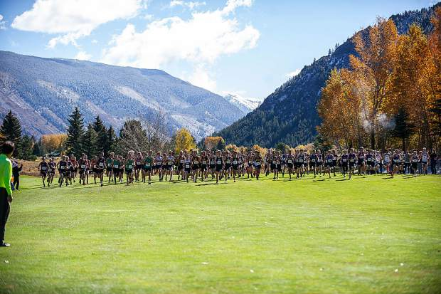 The start of the boys regional cross country meet at the Aspen Golf Course on Friday.