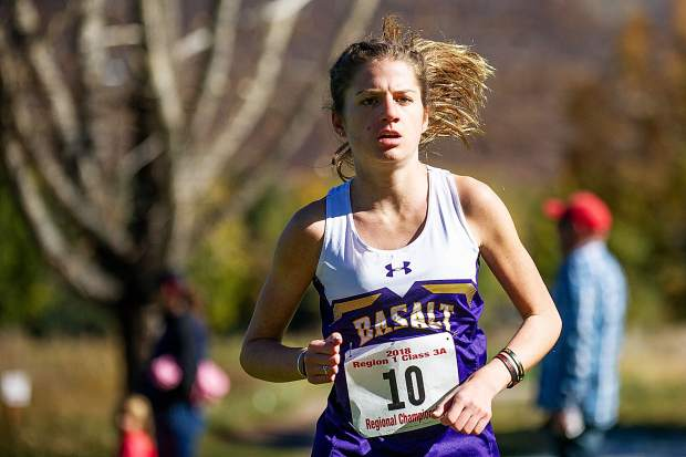 Basalt sophomore Sierra Bower running at the state regional cross country meet at the Aspen Golf Course on Friday morning. Bower took first overall with a time of 20:03.50 and will be heading to State Championships.