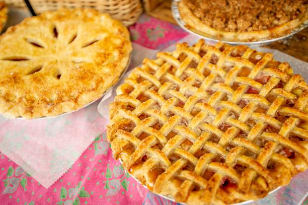 Pies, quiche, and pastries spread out at the Mountain Oven booth out of Paonia at the last Aspen farmers market for the season on Oct 6.