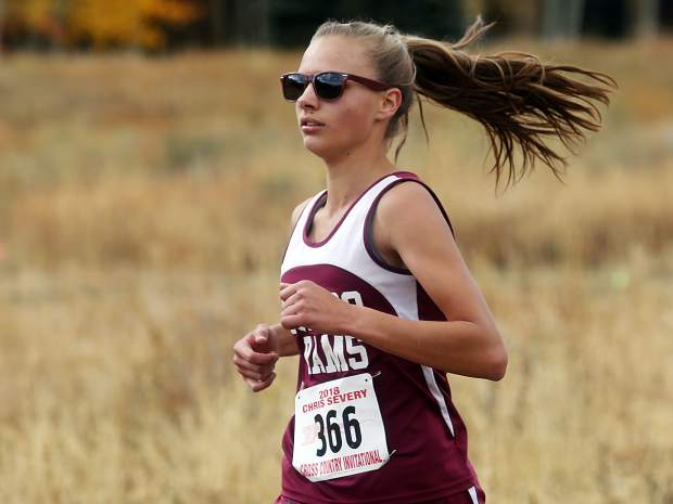 Soroco's Chloe Veilleux competes in the Aspen High School cross country meet on Saturday, Oct. 6, 2018. She won with a time of 22:43.2. (Photo by Austin Colbert/The Aspen Times).