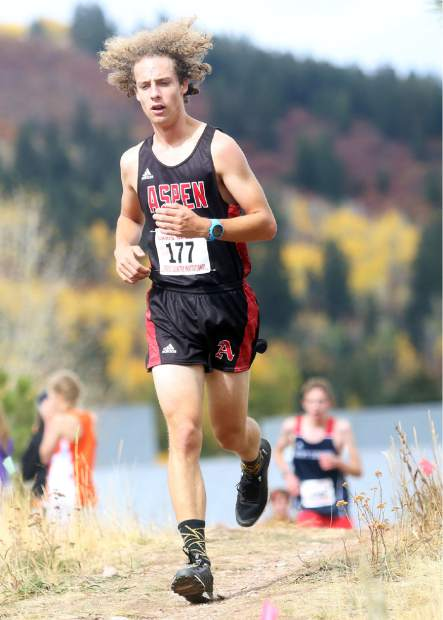 Aspen's Colt Whitley competes in the Aspen High School cross country meet on Saturday, Oct. 6, 2018. (Photo by Austin Colbert/The Aspen Times).