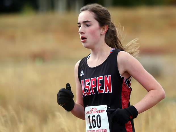 Aspen's Macy Hopkinson competes in the Aspen High School cross country meet on Saturday, Oct. 6, 2018. (Photo by Austin Colbert/The Aspen Times).