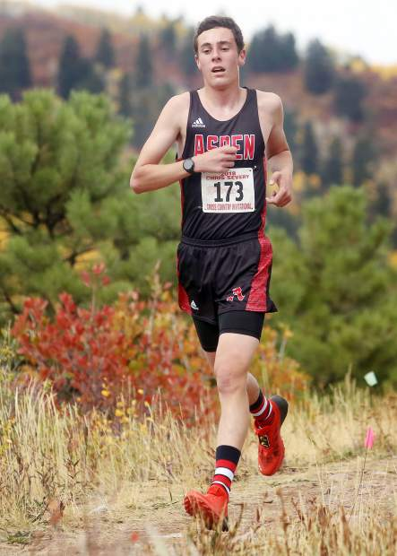 Aspen's Everett Olson competes in the Aspen High School cross country meet on Saturday, Oct. 6, 2018. (Photo by Austin Colbert/The Aspen Times).