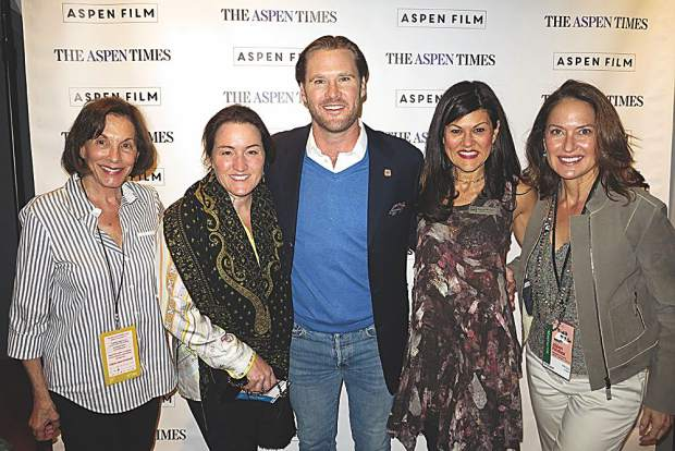 Opening night of Aspen Filmfest with Barbara Fleck, Becky Steere, Ryan Brooks, Susan Wrubel and Helga Fisch.