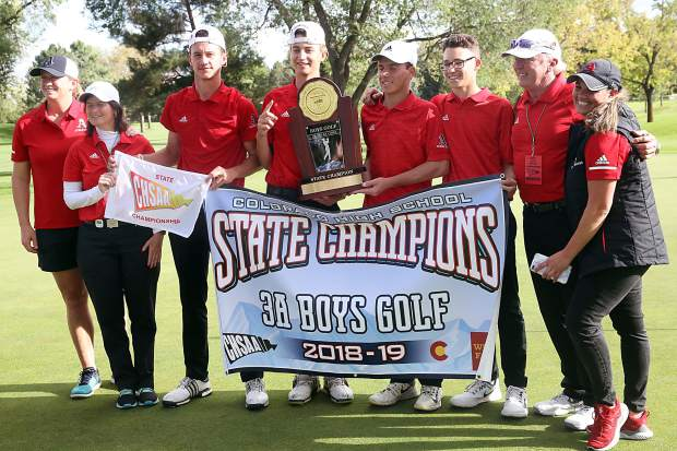The Aspen High School boys golf team won the 2018 Class 3A state golf tournament on Tuesday, Oct. 2, 2018 at Boulder Country Club.