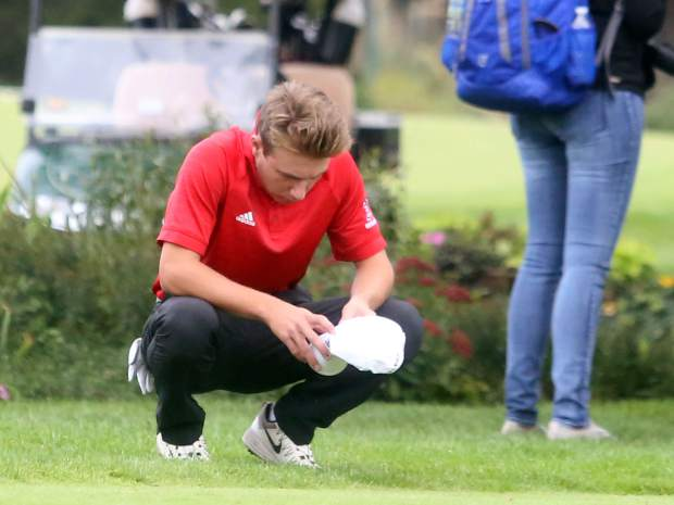Aspen junior Jack Pevny collects himself before beginning the second round of the Class 3A state golf tournament on Tuesday, Oct. 2, 2018 at Boulder Country Club.